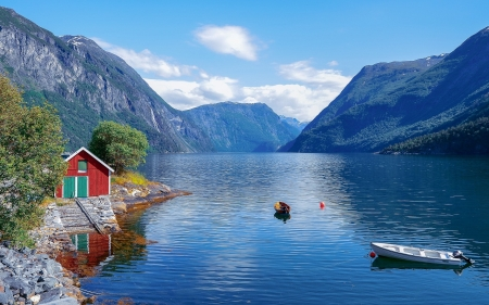 Fjord In Norway Mountains Nature Background Wallpapers