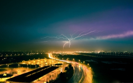 Lighting Strike - Clouds, Sky, LIghting, Ground, Strike, Ominous