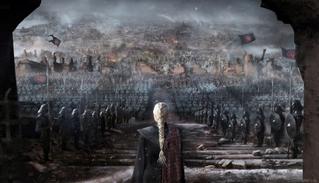 The Iron Throne - art, daenerys, fantasy, girl, iron throne, game of thrones, army, the duellist, luminos