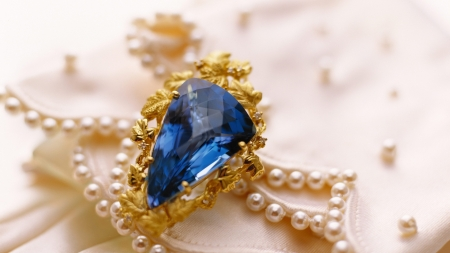 Jewelry - ring, blue, gold, pearls, sapphire, jewel