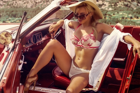 Sunbathing In Private . . - hats, cowgirl, lingerie, ranch, women, cars, Chevy, convertible, style, blondes, western