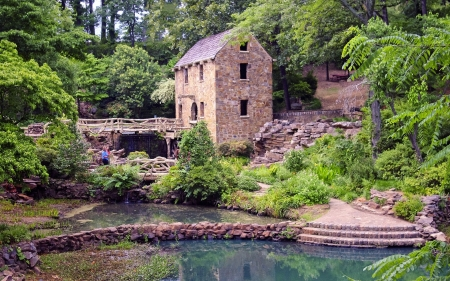 Old Watermill in Arkansas - building, America, watermill, old