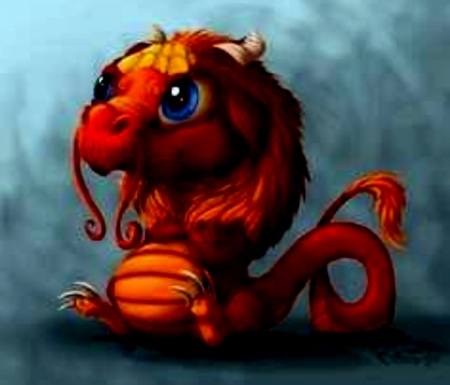 Little Red Dragon - Dragon, Red, Litttle, Fantasy