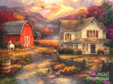 Relaxing on the Farm - houses, farms, love four seasons, attractions in dreams, trees, horses, paintings, mountains, flowers, summer, nature