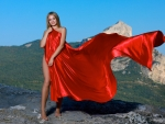Gabriella Wrapped in Red Satin