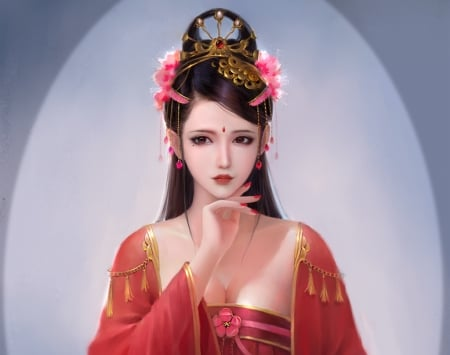 Concubine - fantasy, frumusete, luminos, girl, odalisque, asian, concubine, red, ljz, ljzart