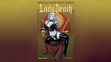 Art of Lady Death - lady death, colorful background, illustration, comic book