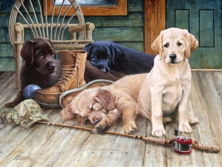:) - cute, art, caine, painting, pictura, fishing, dog, puppy, sleep