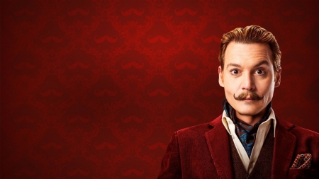 Mortdecai (2015) - mortdecai, red, poster, movie, man, actor, Johnny Depp