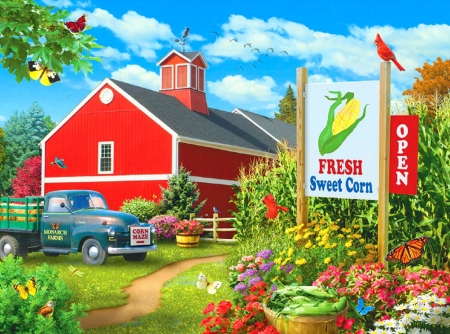 Farmer's Market - market, country heaven, farms, love four seasons, birds, attractions in dreams, spring, butterflies, paintings, summer, flowers, truck, butterfly designs