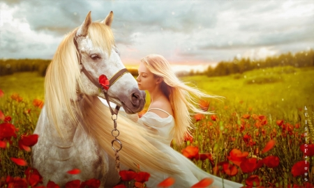 Friendship of a Horse - friendship, flowers, woman, lady, field, softness, blonde, Nature, gentleness, Horse, feminine