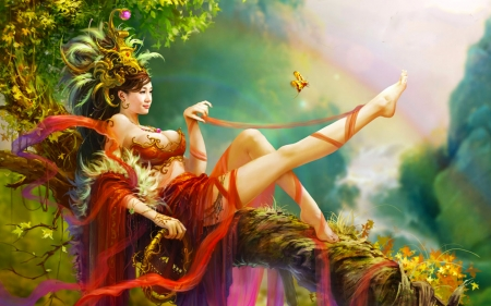 Beauty in Forest - fantasy, girl, resting, digital, branch, woman, art, forest, beautiful, wallpaper