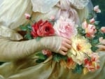 Elegant lady with a bouquet of roses (detail)