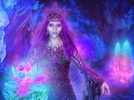~Crystals Queen~ - crystals, fantasy, photomanipulation, weird things people wear, queen, creative pre-made, digital art, women