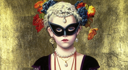 :) - flower, black, copil, mask, titti garelli, art, picutra, masquerade, girl, painting, child