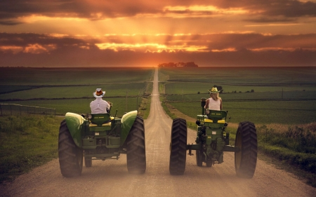 Jake And ? . . - John Deere, dirt road, ranch, cowgirls, tractors, sunset, cowboy, outdoors