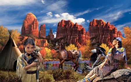The Indigenous Way of Life - horse, canyons, native woman, Nature, teepee, eagle, serene, native child, natives, peaceful, Autumn