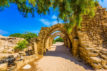Picturesque ruins of the ancient seaport Caesarea - stones, ancient, arch, town, seaport, ruins, beautiful, sky, picturesdque