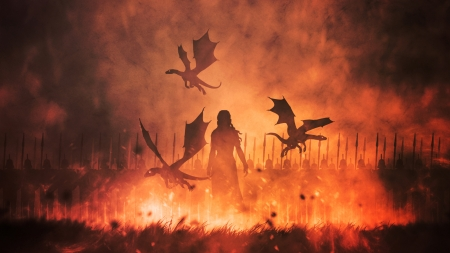 Daenerys with dragons - fire, saebastien del, girl, game of thrones, daenerys targaryen, dragon, mother, silhouette, fantasy