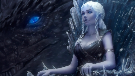 Daenerys Night Queen - girl, blue, zarory, fantasy, game of thrones, daenerys targaryen