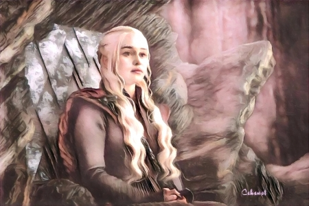 Daenerys - girl, game of thrones, daenerys targaryen, by cehenot, pink, Emilia Clarke, cehenot, art, painting, pictura