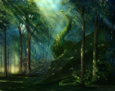 Elven dragon - green, dragon, benj ben j, forest, fantasy, luminos, fantasy art
