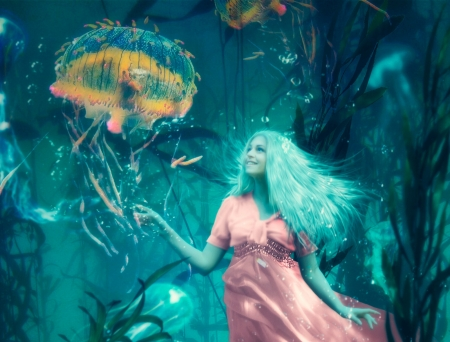 Mermaid - evgeny dvoretckiy, underwater, fantasy, girl, mermaid, jellyfish, pink, blue, siren
