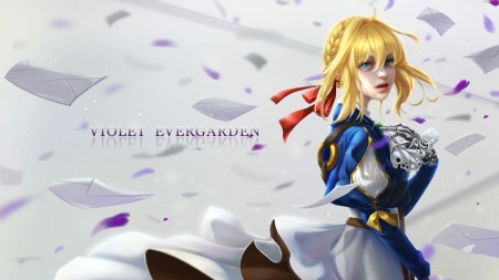 Violet Evergarden - fantasy, girl, anime, yellow, manga, peiyu huang, violet evergarden, blue