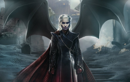 Daenerys Targaryen - game of thrones, wings, girl, mad queen, black, daenerys targaryen, army