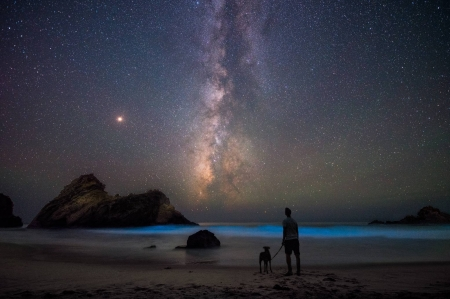 On the Beach with Mars - space, stars, planets, cool, fun, mars, galaxies
