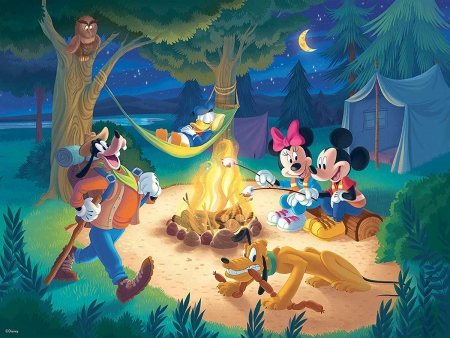 :) - summer, campfire, mickey mouse, minnie, friend, bonefire, goofy, vara, pluto, disney, dog, night