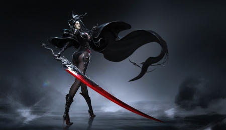Fantasy girl - red, fantasy, demon, girl, black, sword, blood
