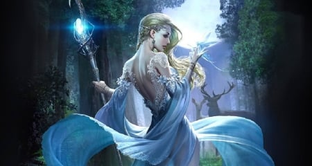 Lady of the Night - art, fantasy, cg, girl, digital, woman, blue, night, staff