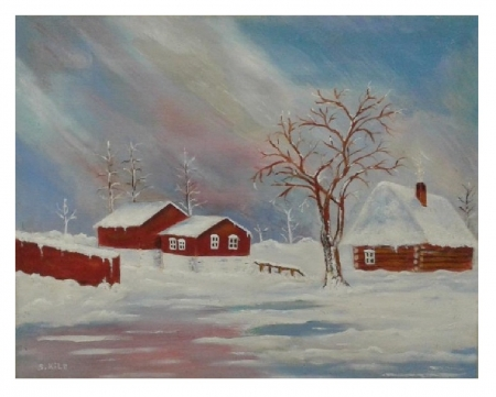 winter oil painting painted by Saad kilo - snow, WINTER, houses, art, oil painting, tree