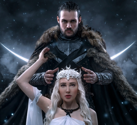 Daenerys And Jon Snow Fantasy Abstract Background
