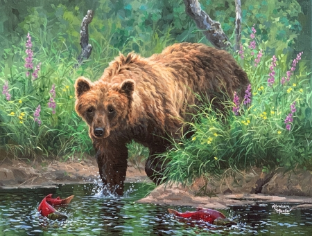 Salmon Fisherman - fishes, water, painting, bear, river, nature, artwork