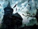 Old Scary House And Birds
