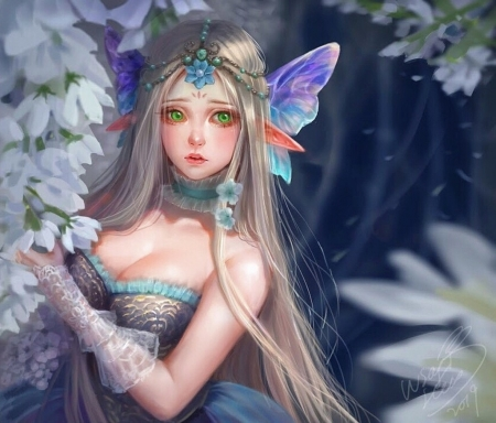 Fairy - luminos, girl, butterfly, elf, christy oiyee, fairy, art, fantasy, white, pink, blue
