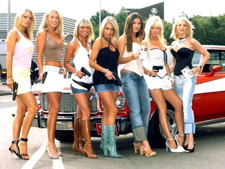 Cowgirl Gang . . - models, boots, cowgirl, women, outdoors, brunettes, cars, pistols, style, western, blondes