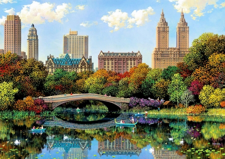 Bow Bridge - central park, skyscrapers, new york, city, water, reflections