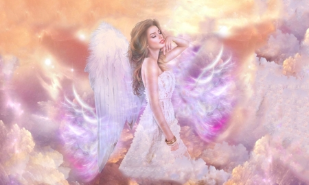 Ethereal Angel - fantasy, Angel, wings, ethereal, Softness, beauty, pastel, angelic