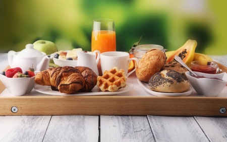 Breakfast - bread, drink, breakfast, food