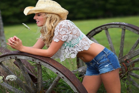 Down Time . . - hats, cowgirl, ranch, wheels, women, outdoors, wagon, style, western, blondes