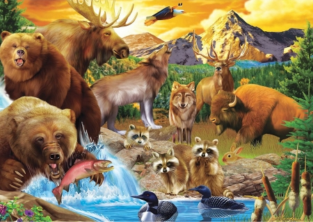 Call of the Wild - animals, raccoons, rabbit, moose, fish, eagle, buffalo, ducks, artwork, deer, mountains, painting, bears, wolves