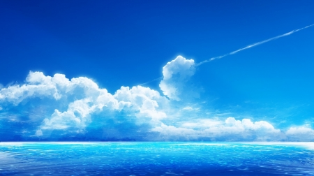 White clouds on blue horizon - nice, horizon, awesome, nature, white, clouds, blue, amazing, colors, cool