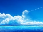 White clouds on blue horizon