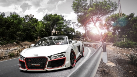 Audi R8 - cars, roads, white cars, vehicles, front view, Audi R8, audi