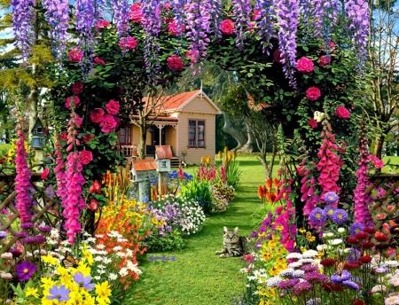 Summer Garden Flowers And House , Flowers \u0026 Nature
