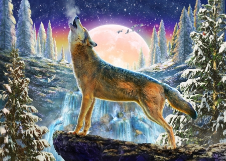 Howling - luminos, luna, adrian chesterman, lup, wolf, howl, iarna, winter, moon, fantasy