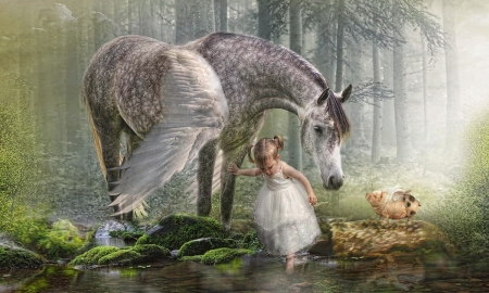 Special Friends - pond, dreamy, woods, magical, little girl, Fantasy, Pegasus, sweet